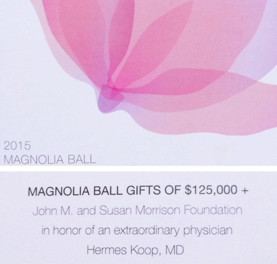 Magnolia Ball Gifts of 125,000 | Dr. Hermes Koop M.D. F.A.C.P